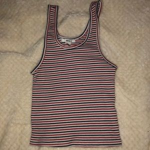 5/20 F21 red blue and white striped cropped tank
